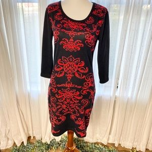 JustLove   Floral Black and Red Bodycon